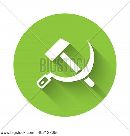 White Hammer And Sickle Ussr Icon Isolated With Long Shadow. Symbol Soviet Union. Green Circle Butto