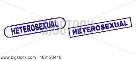 Blue Rectangle And Rounded Heterosexual Stamp. Flat Vector Scratched Stamps With Heterosexual Captio
