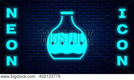 Glowing Neon Tequila Bottle Icon Isolated On Brick Wall Background. Mexican Alcohol Drink. Vector