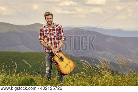 Silence Of Mountains And Sound Of Guitar Strings. Hipster Musician. Inspiring Environment. Summer Mu