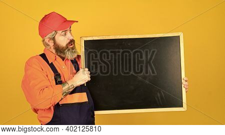 Mechanic Perform Technical Work. Man Worker Hold Chalkboard Copy Space. Electrician Plumber Handyman
