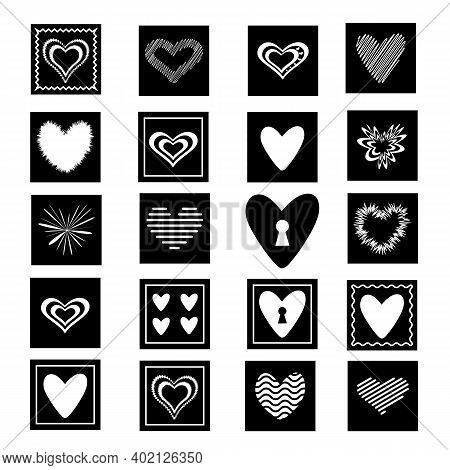 A Set Of Vector Hearts Of Various Shapes, Decorated In Squares.