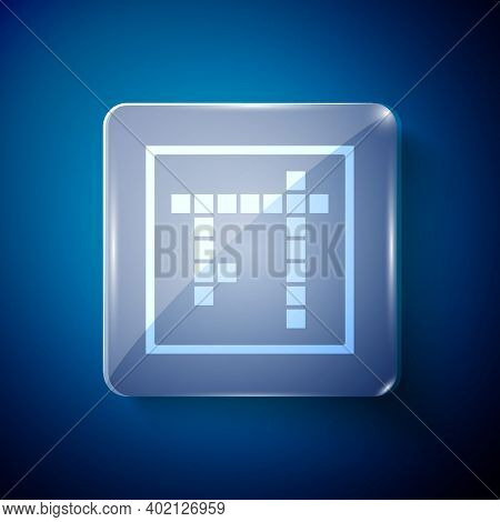 White Bingo Icon Isolated On Blue Background. Lottery Tickets For American Bingo Game. Square Glass