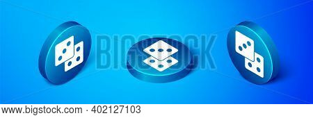 Isometric Game Dice Icon Isolated On Blue Background. Casino Gambling. Blue Circle Button. Vector