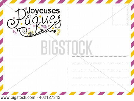 French Happy Easter Postcard With Flowers And Hearts. Cute Greeting Card. Hand Drawn Airmail Envelop