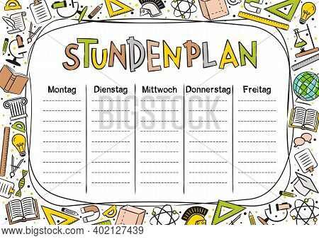 German Kids Template Of A School Schedule For 5 Days Of The Week For Students. Vector Illustration I