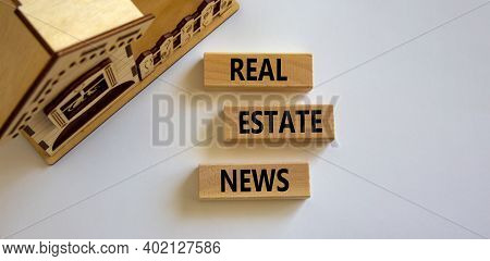 Real Estate News Symbol. Wooden Blocks With Words 'real Estate News' Near Miniature House. Beautiful