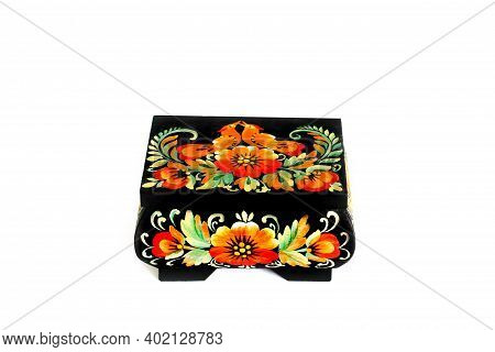 Wooden Casket With Petrykivka Painted On A White Background