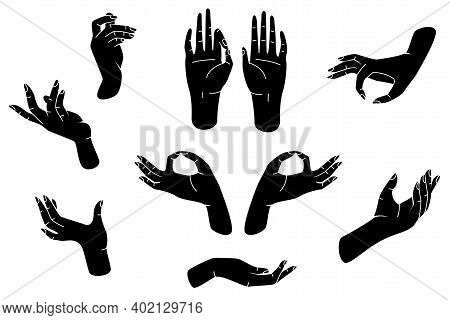 Hands Silhouettes Set In Linocut Style. Vector Illustrations Isolated On White Background.