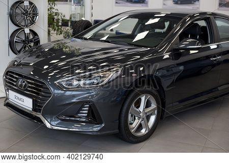 Russia, Izhevsk - January 23, 2020: New Modern Sonata Car In The Hyundai Showroom. Cropped Image. Fa