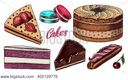 Cakes And Cream Tarts, Fruit Desserts And Muffins. Chocolate Donuts, Sweet Food. Hand Drawn Pastries