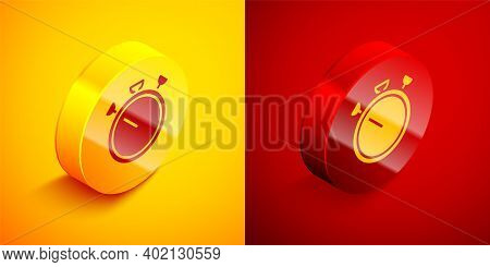 Isometric Stopwatch Icon Isolated On Orange And Red Background. Time Timer Sign. Chronometer Sign. C