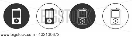 Black Music Player Icon Isolated On White Background. Portable Music Device. Circle Button. Vector