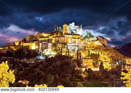 Historic Village Of Eze On Stone Cliff Above Cote D Azur Dramatic Sky View, Alpes-maritimes Departme