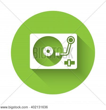 White Vinyl Player With A Vinyl Disk Icon Isolated With Long Shadow. Green Circle Button. Vector
