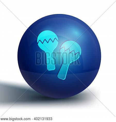 Blue Maracas Icon Isolated On White Background. Music Maracas Instrument Mexico. Blue Circle Button.