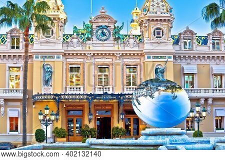 Monte Carlo, Monaco, January 20 2020: Casino De Monte-carlo Famous Landmark Colorful Facade View. Ic