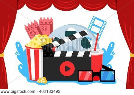 Online Cinema Art Movie Watching With Popcorn Drink Film-strip Cinematograph And 3d Glasses Vector I