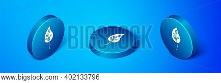 Isometric Leaf Icon Isolated On Blue Background. Leaves Sign. Fresh Natural Product Symbol. Blue Cir