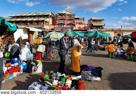 Marrakesh, Morocco - January 21, 2019: Jamaa El-fna Market Square In Marrakesh, Morocco, January 21,