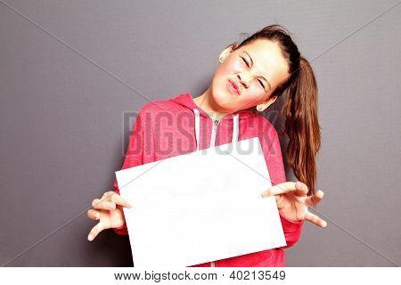Scornful Little Girl With Blank Paper