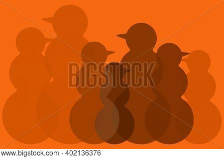 Silhouettes Of Snowmen. Color Image Of Snowmen Of Different Sizes And Transparency On An Orange Back