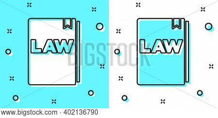 Black Line Law Book Icon Isolated On Green And White Background. Legal Judge Book. Judgment Concept.