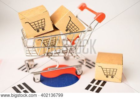 Box With Shopping Cart Logo And Korea Flag, Import Export Shopping Online Or Ecommerce Finance Deliv