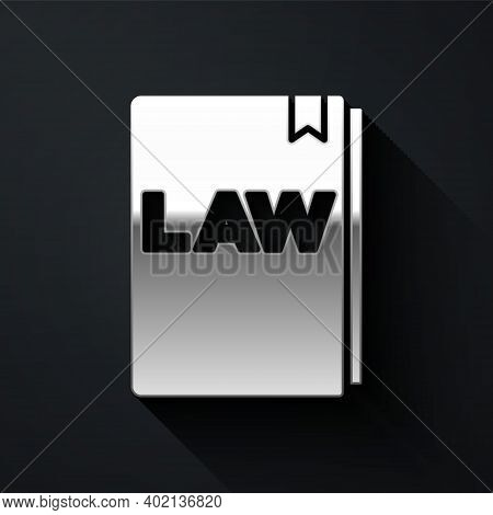 Silver Law Book Icon Isolated On Black Background. Legal Judge Book. Judgment Concept. Long Shadow S