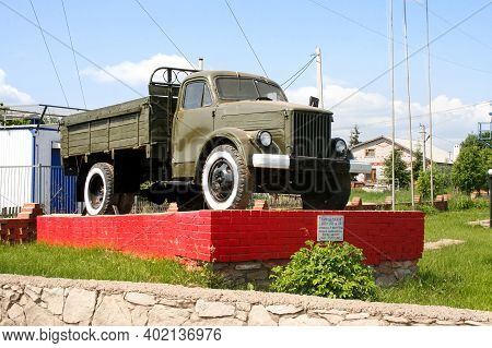 Mamadysh, Russia - June 14, 2008: Soviet Flatbed Truck Gaz 51 Monument In The City Street.