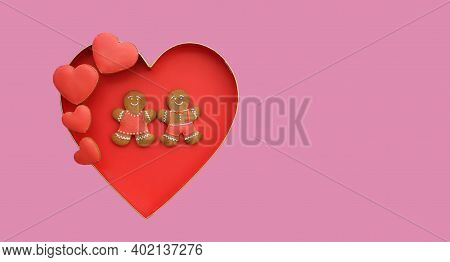 Cute Funny Gingerbread Couple With Heart Decoration For Valentine Day. Sweet Love Concept