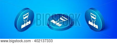 Isometric Train Conductor Icon Isolated On Blue Background. Blue Circle Button. Vector