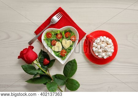 Beautiful Rose And Lovingly Made Salad With Heart Decoration And Bright Red Cup With Marshmallows Fo
