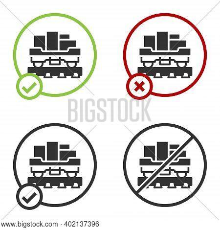 Black Cargo Train Wagon Icon Isolated On White Background. Full Freight Car. Railroad Transportation