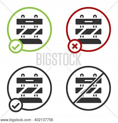 Black End Of Railway Tracks Icon Isolated On White Background. Stop Sign. Railroad Buffer End To Des