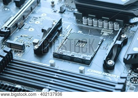 Rostock, Germany - July 15, 2020: Close-up Of Motherboard With Processor