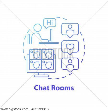 Chat Rooms Concept Icon. New Media Example Idea Thin Line Illustration. Exchanging Text-based Messag