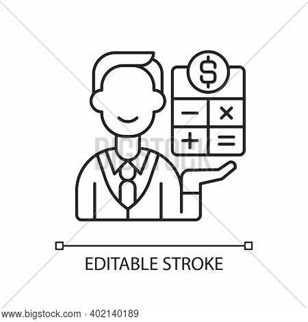 Bookkeeper Linear Icon. Responsible Person For Recording All Business Financial Transaction. Thin Li