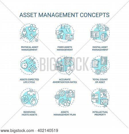 Asset Management Concept Icons Set. Investments Managing Idea Thin Line Rgb Color Illustrations. Dig