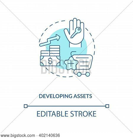 Developing Assets Concept Icon. Asset Management Component Idea Thin Line Illustration. Increasing,