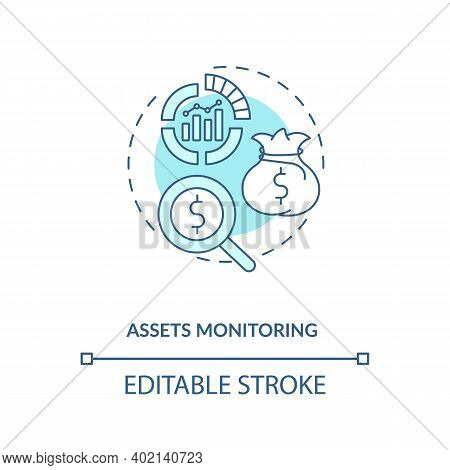 Assets Monitoring Concept Icon. Asset Management Benefit Idea Thin Line Illustration. Remote Monitor