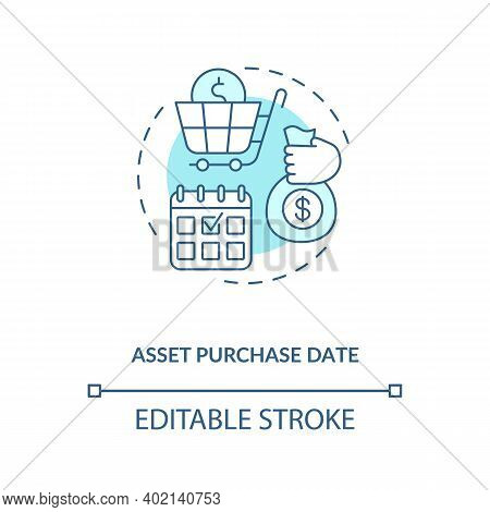 Asset Purchase Date Concept Icon. Assets Inventory Element Idea Thin Line Illustration. Investment S
