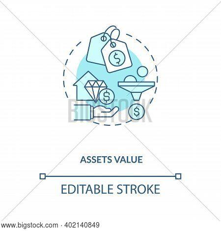 Assets Valuation Concept Icon. Assets Inventory Element Idea Thin Line Illustration. Subjective, Obj