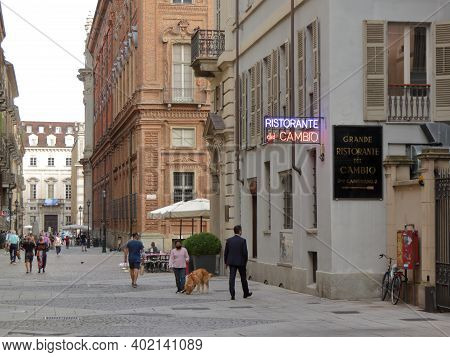 Turin, Italy - September 2020: Citizens Walk Along Accademia Delle Scienze Street And You Can See Th