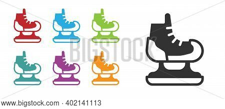 Black Skates Icon Isolated On White Background. Ice Skate Shoes Icon. Sport Boots With Blades. Set I