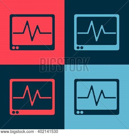 Pop Art Computer Monitor With Cardiogram Icon Isolated On Color Background. Monitoring Icon. Ecg Mon