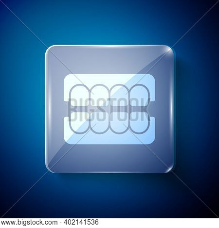 White False Jaw Icon Isolated On Blue Background. Dental Jaw Or Dentures, False Teeth With Incisors.