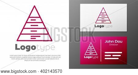 Logotype Line Business Pyramid Chart Infographics Icon Isolated On White Background. Pyramidal Stage