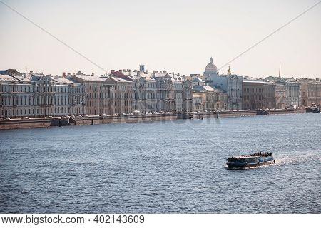 Saint Petersburg, Russia, 18.04.2019, Neva River St. Petersburg, Tourist Walking Boat