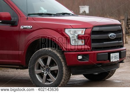 Leamington Canada, January 05 2021: Editorial Photograph Of A Ford F150 With Large Winter Tires That